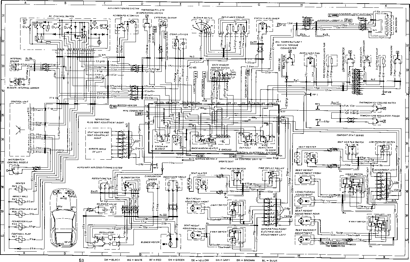 porsche 928 evaporator switch blower - porsche 928 heating, Wiring diagram