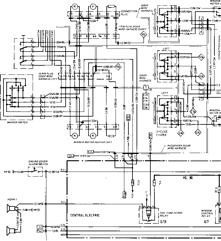 Wiring Diagram Type 944944 Turbo Model 852 Page I on power window switch diagram