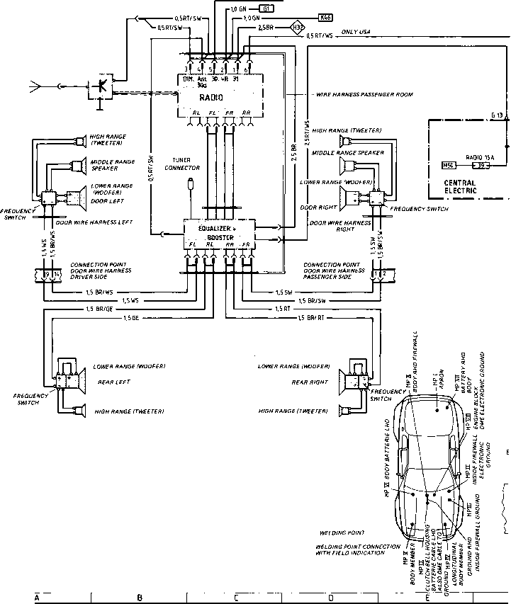 wiring diagram type 944 944 turbo model 86 sheet porsche 944 electrics rh porscherepair us porsche 944 radio wiring harness 1985 porsche 944 radio wiring diagram